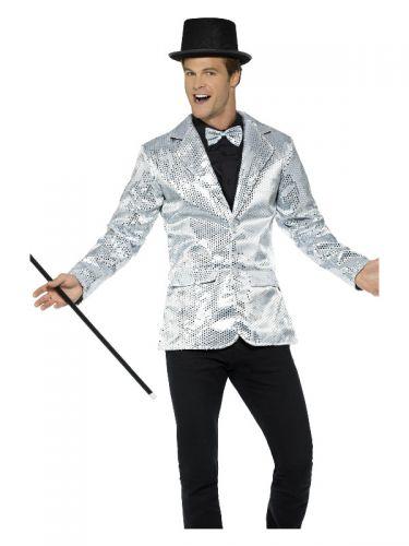 Sequin Jacket, Mens, Silver
