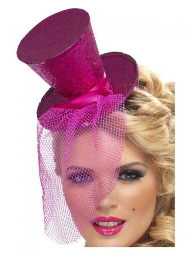 Fever Mini Top Hat on Headband, Hot Pink