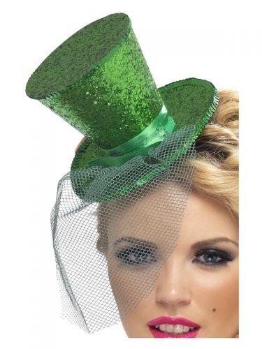 Fever Mini Top Hat on Headband, Green