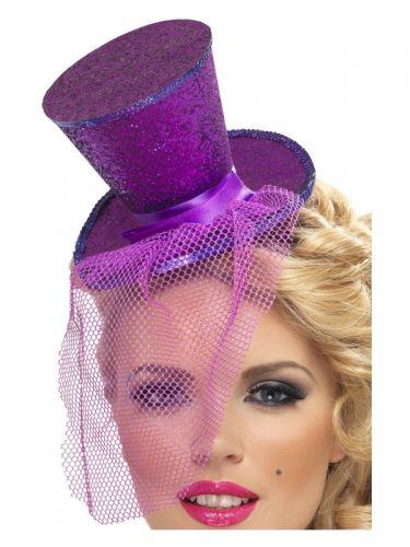 Fever Mini Top Hat on Headband, Purple