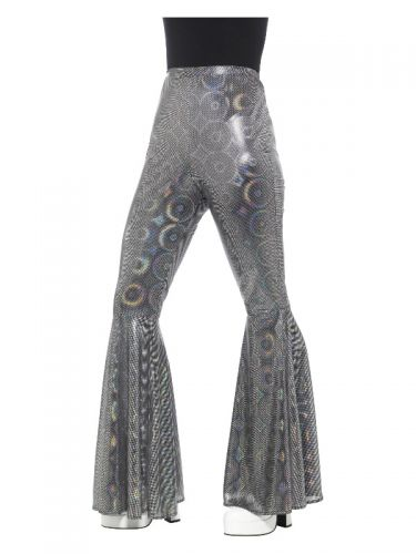 70s Disco Flared Trousers, Ladies, Silver