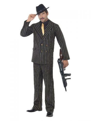 Gold Pinstripe Gangster Costume, Black