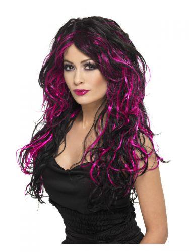 Gothic Bride Wig, Pink & Black