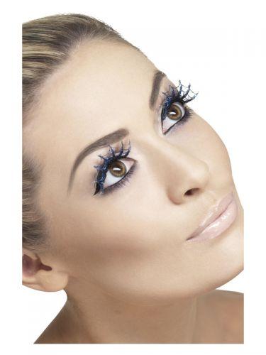 Eyelashes Spiderwebs with Glitter, Blue