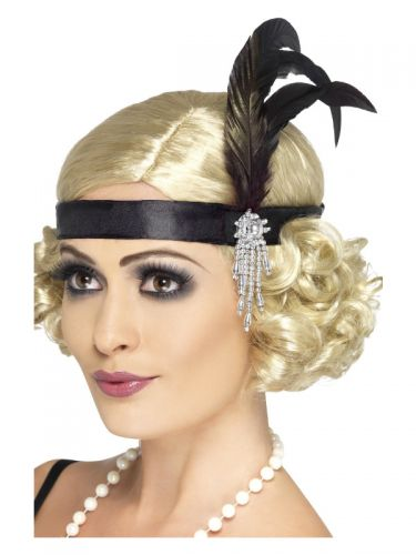 Black Satin Charleston Headband, Black