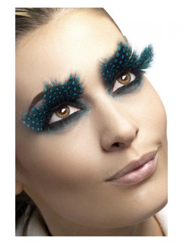 Eyelashes, Large Feather with Aqua Dots, Black