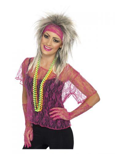 Lace Net Vest, Gloves & Headband, Neon Pink