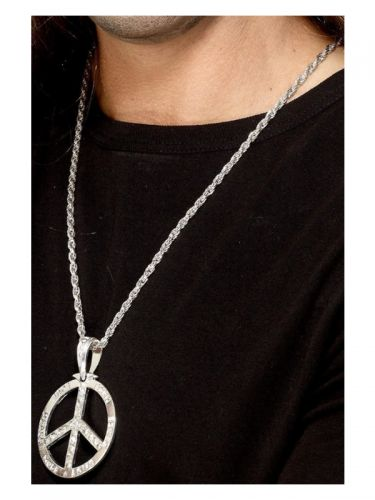 '60s Peace Sign Hippie Medallion, Silver