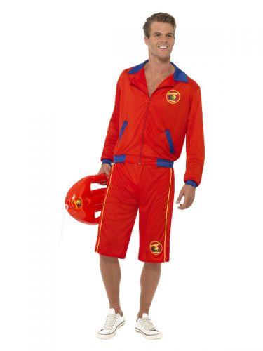 Baywatch Beach Men's Lifeguard Costume, Red
