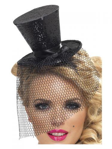 Fever Mini Top Hat on Headband, Black