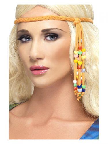 1960s Hippie Beaded Headband, Orange