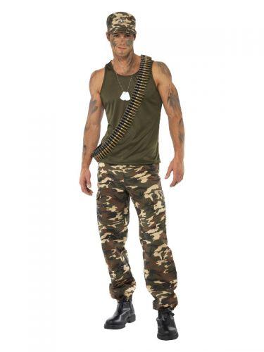 Deluxe Khaki Camo Costume, Male, Khaki Green