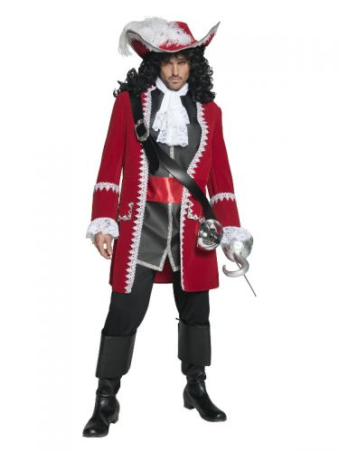 Deluxe Authentic Pirate Captain Costume, Red