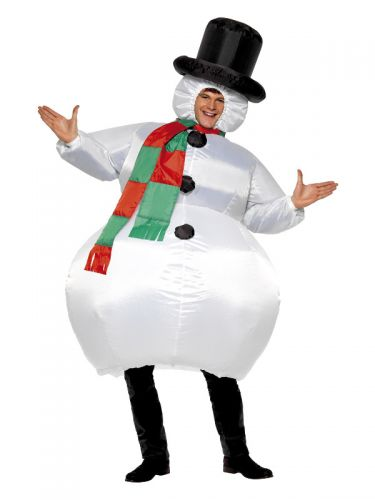 Inflatable Snowman Costume, White