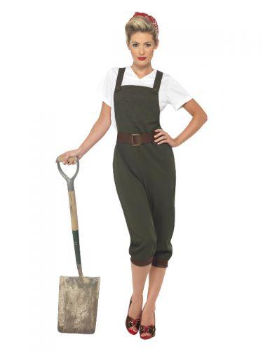 WW2 Land Girl Costume, Green