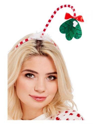 Mistletoe Kisses Headband, Red & White