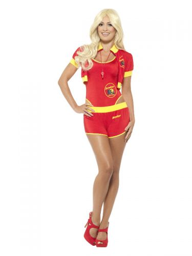 Deluxe Baywatch Lifeguard Costume, Red & Yellow