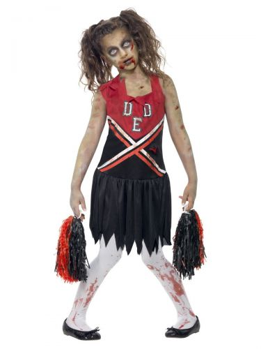 Zombie Cheerleader Costume, Red & Black