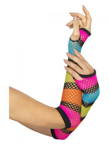 Fishnet Gloves, Long, Neon