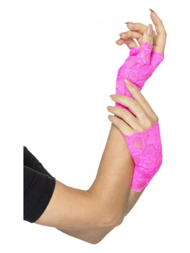 80s Fingerless Lace Gloves, Neon Pink