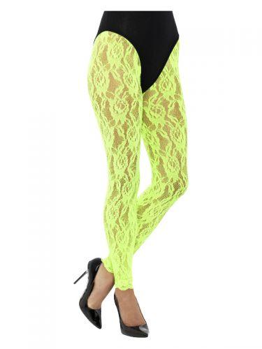 80s Lace Leggings, Neon Green
