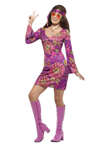 Hippie Chick Costume, Multi-Coloured