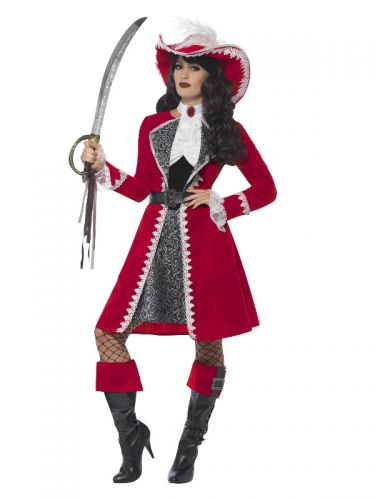 Deluxe Authentic Lady Captain Costume, Red