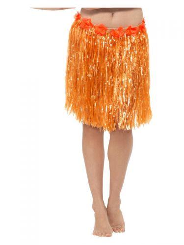 Hawaiian Hula Skirt with Flowers, Neon Orange