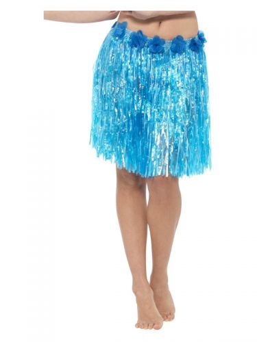 Hawaiian Hula Skirt with Flowers, Neon Blue