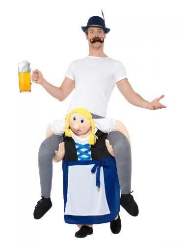 Piggyback Bavarian Beer Maiden Costume, Blue