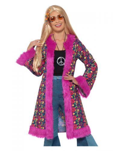 60s Psychedelic Hippie Coat, Pink
