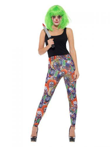 Creepy Clown Leggings, Multi-Coloured