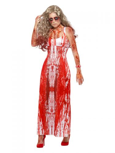 Bloody Prom Queen Costume, White & Red