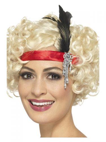 Red Satin Charleston Headband, Red