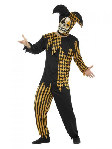 Evil Court Jester Costume, Black & Gold