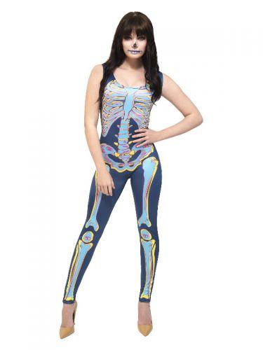 Fever Sexy Skeleton Costume, Blue