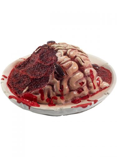 Latex Gory Gourmet Rotting Brain Plate Prop, Red