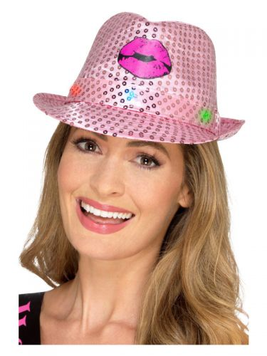 Light Up Sequin Hen Party Trilby Hat, Pink