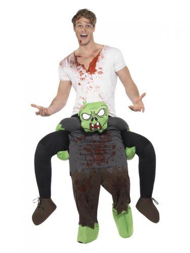 Piggyback Zombie Costume, Green & Grey