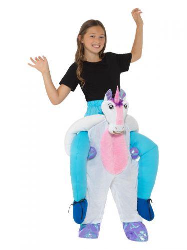 Kids Piggyback Unicorn Costume, Pink & White