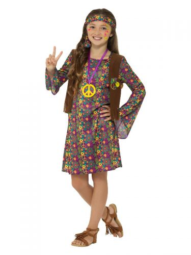 Hippie Girl Costume, with Dress, Multi-Coloured