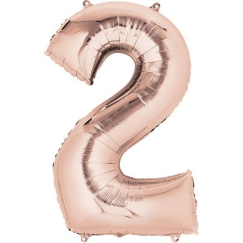 """Rose Gold Giant 34"""" large Numbered Foil Balloons-2"""