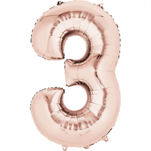 """Rose Gold Giant 34"""" large Numbered Foil Balloons-3"""