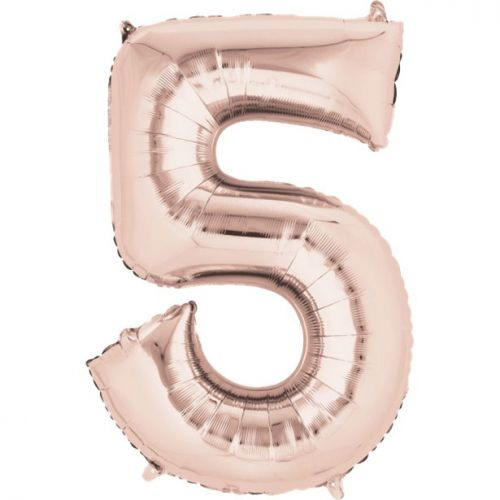 """Rose Gold Giant 34"""" large Numbered Foil Balloons"""