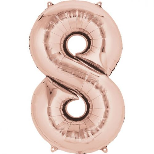 """Rose Gold Giant 34"""" large Numbered Foil Balloons-8"""