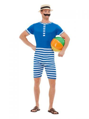 20s Bathing Suit Costume, Blue & White