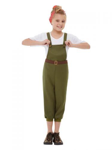 WW2 Little Land Girl Costume, Green
