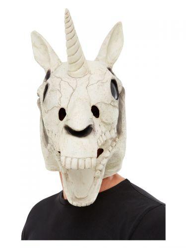 Unicorn Skull Latex Mask, White, White