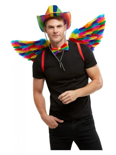 Rainbow Feather Wings, Multi-Coloured