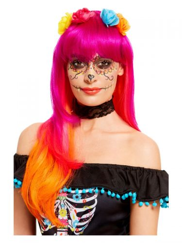 Day of the Dead Wig, Pink & Orange